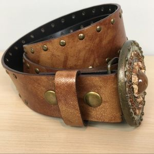 Guess Accessories - Guess vegan leather studded belt bronze